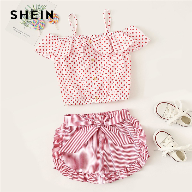 SHEIN Kiddie Girls Cold Shoulder Ruffle Dot Sweet Blouse And Striped Belted Shorts Set 2019 Summer Vacation Boho Cute Suit Sets peeter sauter indigo luus kogu moos