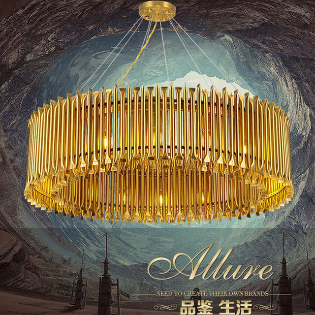 Aluminiumlegierung Gold Anhnger Leuchtet Esszimmer Pendelleuchte Moderne Lampen Fr Hauptbeleuchtung Hohe Decken Wohnzimmer Lampe