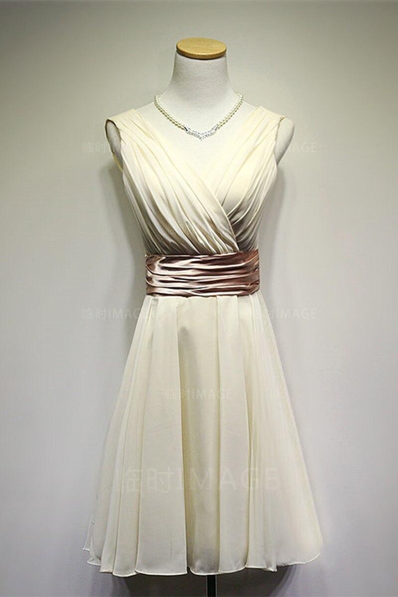 fe0808047d9 Chiffon homecoming Dress Evre Pretty Double V-neck White Short wedding  Party Bridesmaid Dresses vestido de