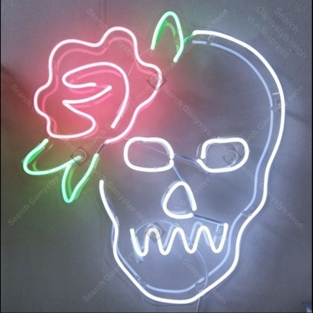 Sugar Skull With Rose Neon Sign Glass Tube Handmade Neon Light Sign