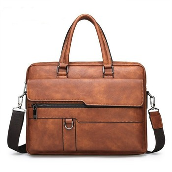 Moda męska teczka torebki biznes skórzana torba mężczyźni torby listonoszki męska torba laptopy torba Bolso Hombre Sac Homme tanie i dobre opinie Torby na ramię Laptop teczki Stałe Zipper hasp Fasion 8301 Oyixinger