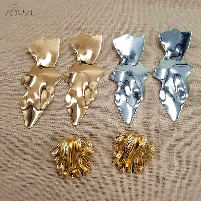AOMU 2018 New Design Irregular Geometric Metal Chain Round Waterdrop Big Circle Earring Gold Thick Link Drop Earrings For Women
