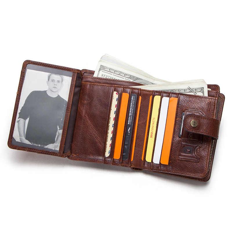 Contact's couro genuíno rfid vintage carteira homens com bolso de moeda carteiras curtas pequeno zíper walet com porta-cartão homem bolsa