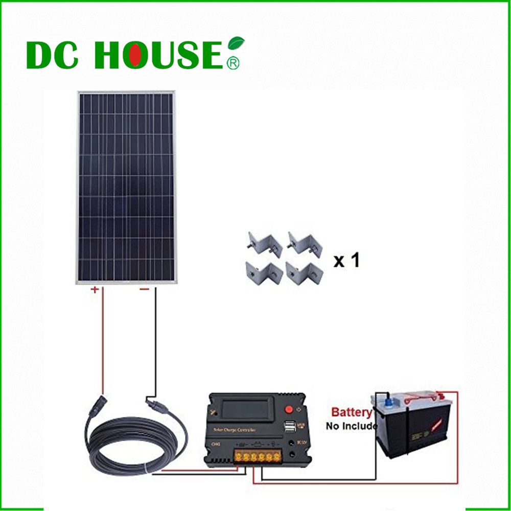 DC HOUSE USA UK Stock 150W 12V Off Grid Solar Kit W/ 20A Temperature Regulator for Yacht Caravan Home dc house usa uk stock 300w off grid solar system kits new 100w solar module 12v home 20a controller 1000w inverter