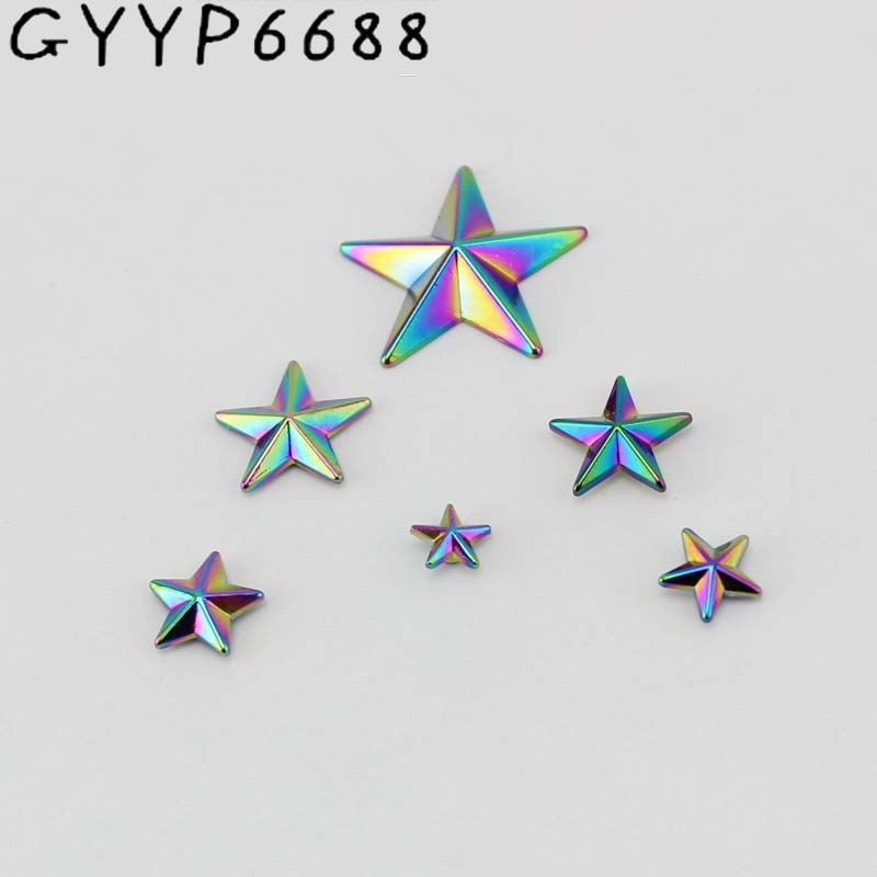 30-100pcs Rainbow Pentagram Cover Rivet Head Copper Feet Solid Rivets Fasteners  Leather Crafts Bags Shoes Studs