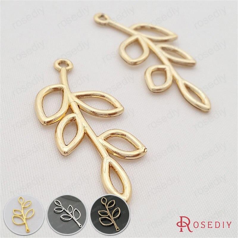 Bronze Alliage mixte Assortiment Arbre Feuilles Pendentif Charms Bijoux Accessoires 30pcs
