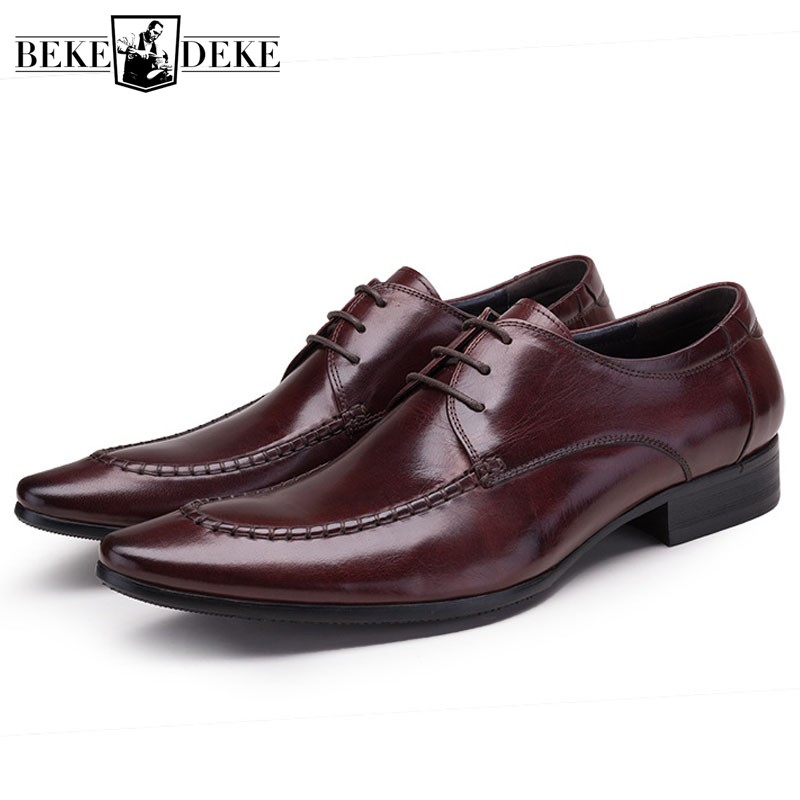 Classic Real Cow Leather Formal Shoes Men Plus Size Business Flat Pointe Dress Shoes Male Lace Up Top Quality Leather Footwear
