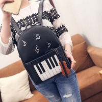 Spring Music Backpacks Piano Musical Violin Printing Backpack For Teenage Girls Bookbag Students School music center note bag872