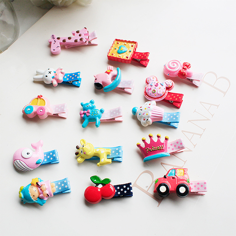 1 PCS New Cute Girls Hair Accessories Baby Hairpins Resin Acrylic Stereo Cartoon Animal Candy Hair Clips Kids Children Barrettes 2 pcs 2017 new korean striped bowknot cute baby clip girls hairpins cartoon kitten hair clips kids children accessories