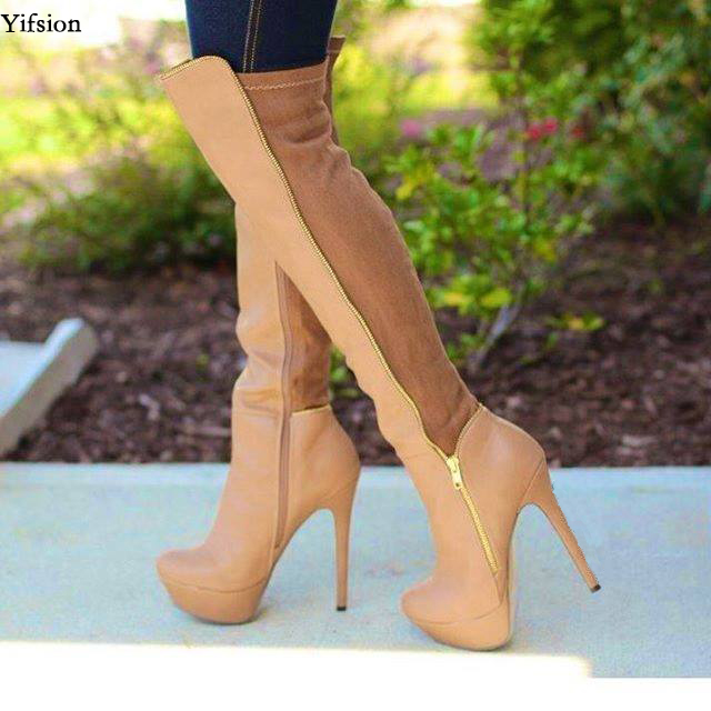Yifsion Women Platform Thigh High Boots Stiletto High Heels Boots Round  Toe Apricot Black Party Shoes Women Plus US Size 5-15Yifsion Women Platform Thigh High Boots Stiletto High Heels Boots Round  Toe Apricot Black Party Shoes Women Plus US Size 5-15