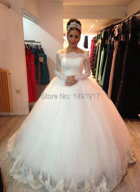 Longue illusion manches nouvelle robe de mariage princesse for Robes de mariage de juin