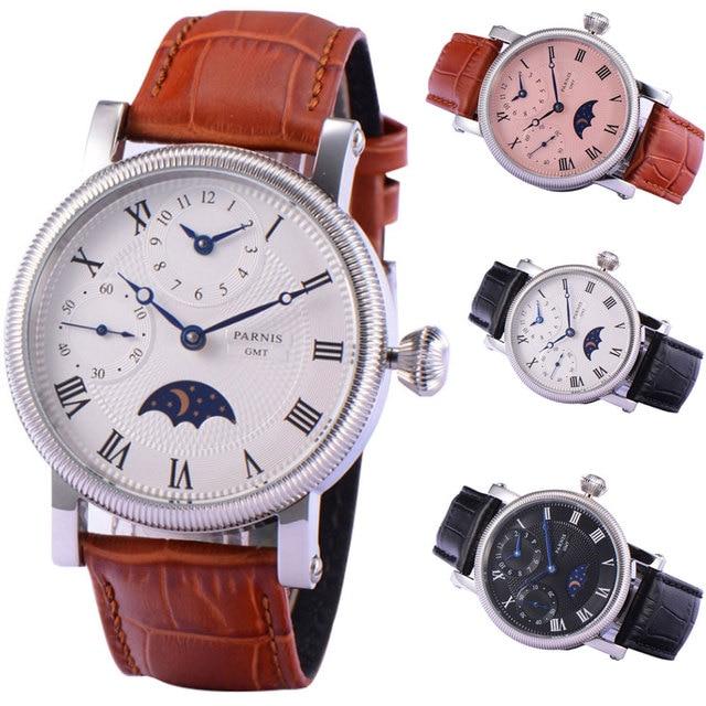 42mm PARNIS niebieskie dłonie GMT faza księżyca ręczne nakręcanie ruch męski zegarek
