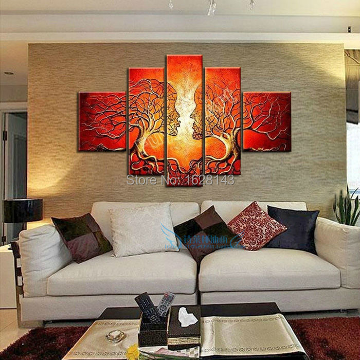 Hand Made Modern Abstract Oil Painting Ideas Home Decoration Canvas Art Kiss Pictures For Bedroom Living Room Unique Loving Giftin U0026