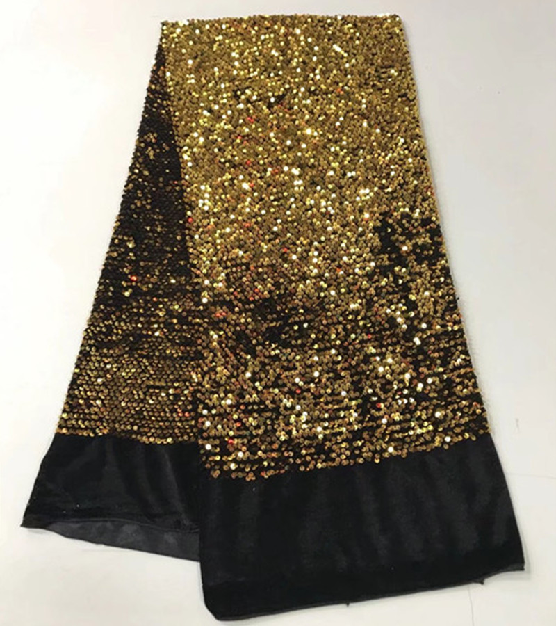 2018 African high quality velvet sequence French Nigerian sequins net tulle mesh Swiss lace fabric for