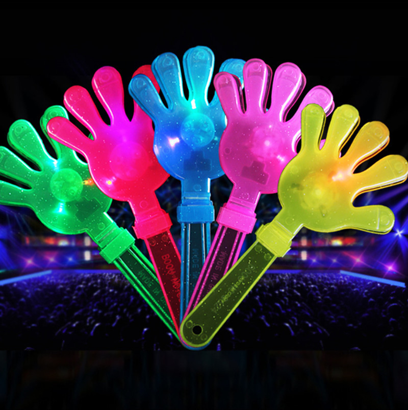 28cm Light Up Toys Applause Props LED Light Hands Clapper Palms Shoot Kids Toy Party Favors Rattle Plastic Halloween Decor