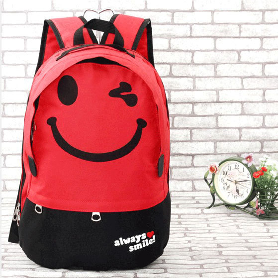 af39a00a2b Lovely College Cartoon Cute Smiley Letters Printed Casual Nylon Kids  Backpack School Bag Travel Computer Backpack