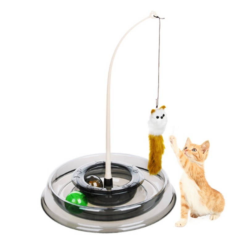 Pet cats toys mouse round turntable funny cat stick teaser with catnip cat interactive educational toys Amusement Plate