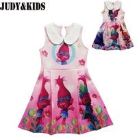 Trolls Children Clothes Kid Girls Dress Teenage Party Princess Dresses New Brand Designer Cartoon Clothing Trolls