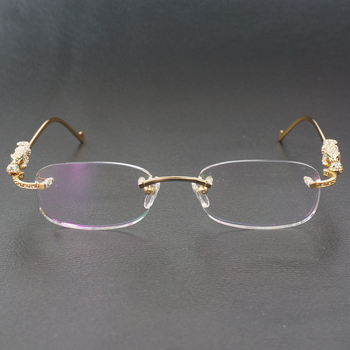 Computer Glasses Frame with Stone Panther Eyeglasses for Decoration Clear Glasses for Reading Fashion Eyewear for Men Women