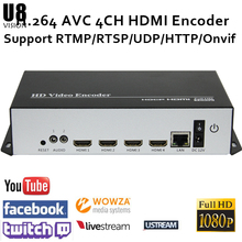 U8Vision H.264 4CH HDMI Video Encoder for live streaming Broadcast  hdmi iptv encoder support RTMP/RTSP/UDP/RTP/HTTP/FLV/M3u8 mpeg4 hdmi to ip live streaming video encoder h 264 rtmp encoder hdmi encoder iptv h264 with hls http rtsp udp