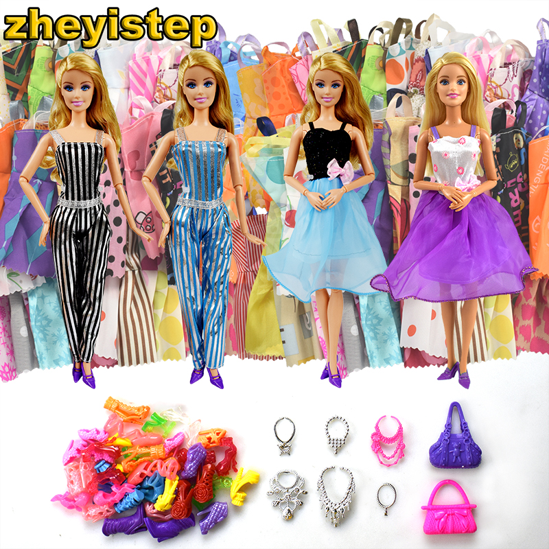32 Item/Set Doll Accessories=10 Pcs Mixed Doll Dress+2 Pcs Doll Set+6 Plastic Necklace+2 Handbag+12 Pairs Shoes for Barbie Doll 2 items 1dress 1 set accessories 1pair earing 1necklace little girls s gift luxurious wedding dress for barbie doll