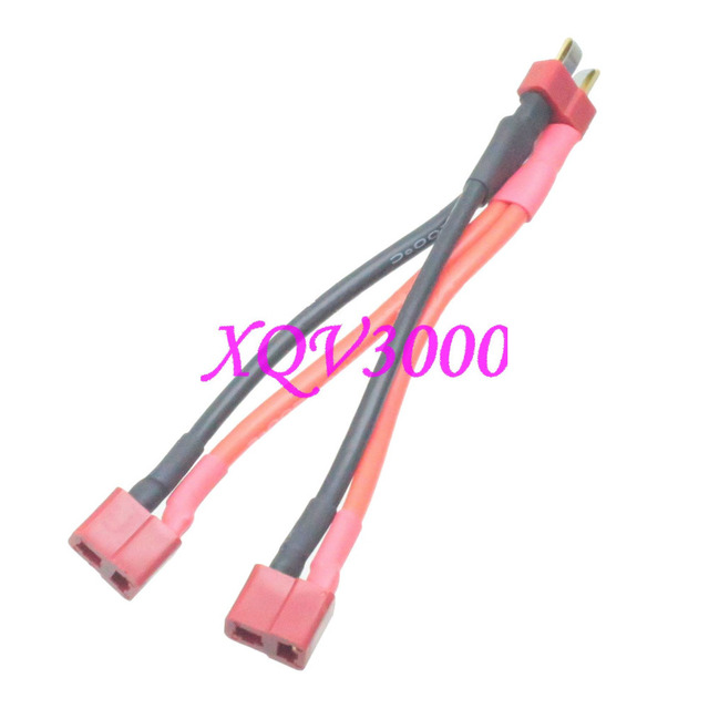 deans style t-plug parallel y- harness one male two female 14awg 10cm wire