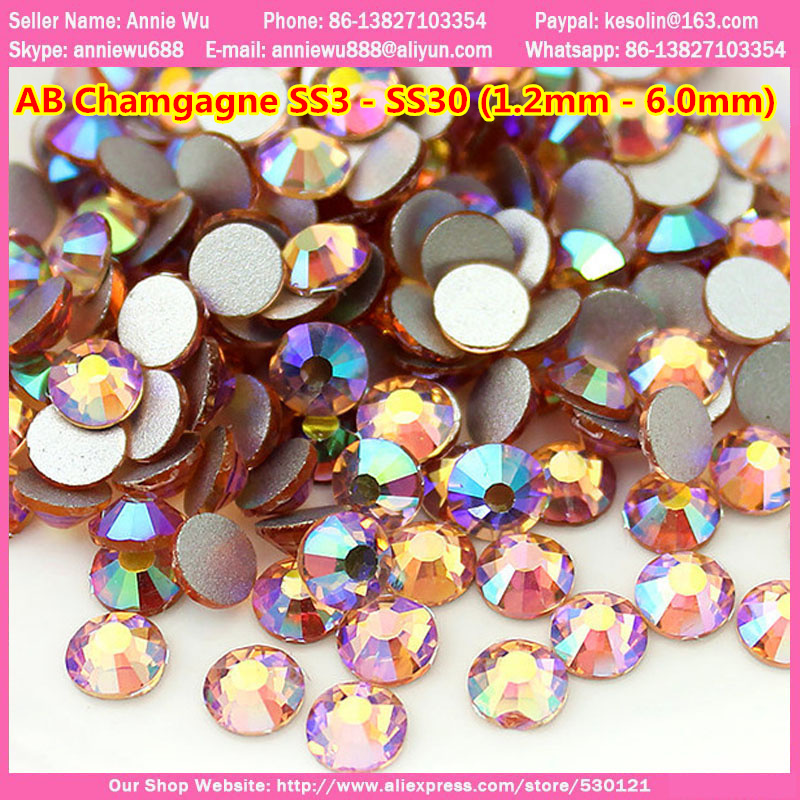 Free Shipping 1440pcs 1.2mm-6.0mm AB Champagne ss3 Strass de Cristal swarovsky nail art non Hot Fix faltback Nail Rhinestones ss16 4mm amethyst 1440pcs bag non hotfix crystals flatback nail rhinestones glass strass glitters for nail art glue on stone