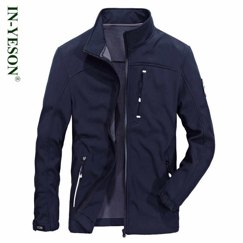Inyeson бренд Для мужчин куртка высокое качество Стенд воротник Militar флис флисовая куртка пальто Для мужчин синий серый армии Цвет кардиган