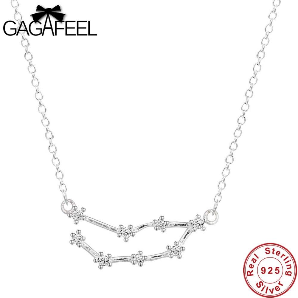 De moda caliente 12 signos del zodiaco constelaciones 925 esterlina plata collares joyería de las mujeres de horóscopo regalo accesorio encanto Dropship