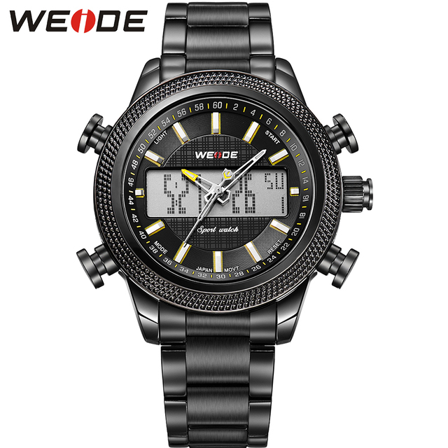WEIDE Popular Brand Fashion Big Black Steel Watch Men Analog Digital Display Quartz Movement 30m Waterproof Wristwatches