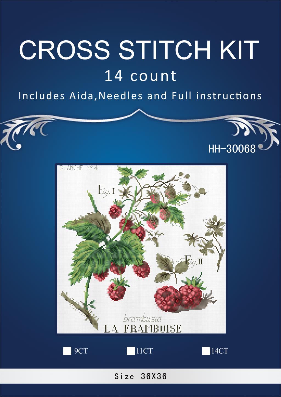 Oneroom kit point de croix La framboise framboises   Livraison gratuite, bonne qualité, vente populaire, joli, 38x38cm, 14 ct