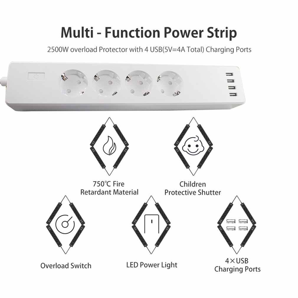 WiFi חכם כוח רצועת שקע לשקע 4 יציאות AC 4 USB יציאת קול בקרת כוח רצועת טיימר מתג עבור Alexa google בית