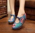 Mulheres Bombas 5 CM Sapatos de Salto das Mulheres do Bordado do vintage Nacional Retro Velho Pequim Mary Jane Bombas de Lona Pano Macio misturar Estilos