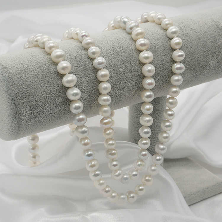 Kobiety prezent słowo 925 Sterling silver prawdziwe biżuteria 8-9mm lekki, naturalne perły słodkowodne sweter łańcucha, długi naszyjnik, prawdziwy sp