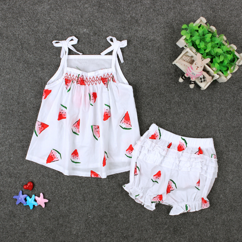 2017 Summer Cute Girls Clothing Set Fruit Watermelon Cotton Tops  Shorts Baby Girl -9124