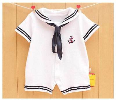Newborn Baby Boy Romper Summer Sailor Jumpsuit One-piece Outfits Infant baby boy girl Clothes 3pcs set newborn infant baby boy girl clothes 2017 summer short sleeve leopard floral romper bodysuit headband shoes outfits