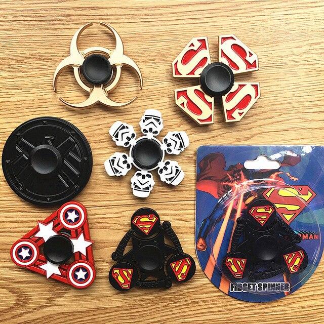 Супермен Wonder Woman Звездные войны щиты сплав палец гироскопа игрушки Мстители мультфильм металлическая рука Spinner Для СДВГ декомпрессии 50 шт.