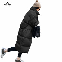 Winter Women's Jacket New Korean Version Long Section Bread Loose Large Size Solid Color Cotton Coat Warm Ladies Parka X0387