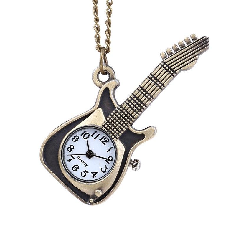 Fashion Unisex Men Pocket Watches Classic Retro Quartz Watch Punk Guitar Pocket Watch Men Women Casual Necklace Watch Clock /C