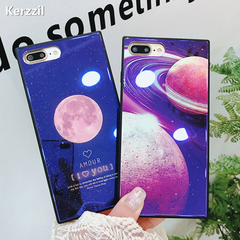 Kerzzil Blue Ray Glass Square Phone Case For iPhone X 8 Plus Luxury Moon Earth Back Cove ...