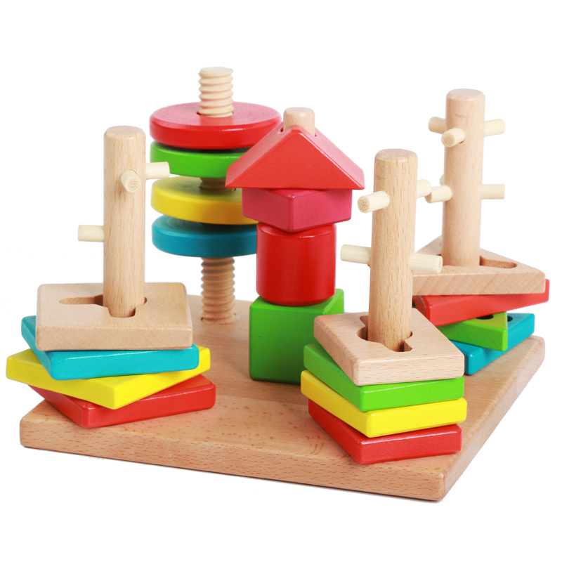 Wooden Puzzle Intelligence Classic Baby Toys Stacking