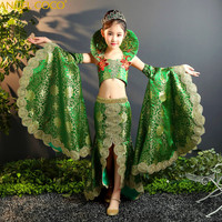 Могут быть настроены Красота Праздничное платье летние зеленые атласные экзотические карнавал ребенок русалка платья для девочек Вечерин