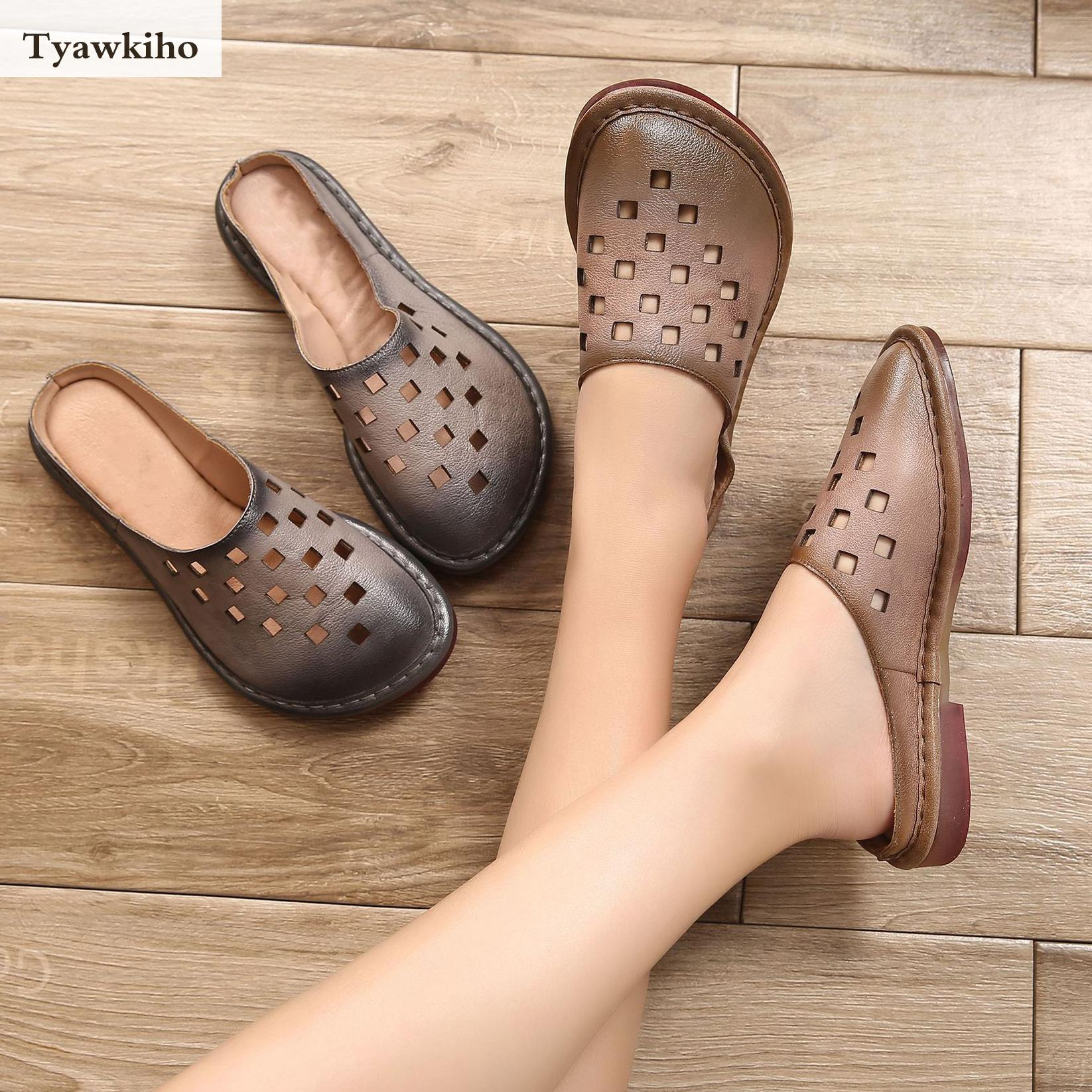 Tyawkiho Genuine Leather Women Mules Gray Summer Shoes Hollow Out Slippers Low Heel Sandals Women Soft Leather Slipper Handmade tyawkiho genuine leather women sandals 7 cm high heel pointed toe summer shoes hollow out retro sandals handmade women shoe 2018