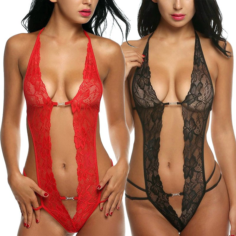 M L XL XXL Plus Size Lingerie Sexy Lace Transparent Porn Sex Teddy Babydoll Open Crotch Erotic Costumes Sexy Underwear For Women