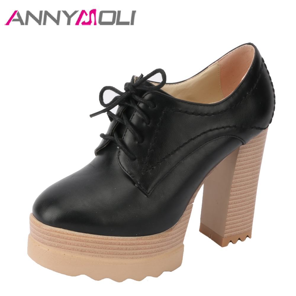 ANNYMOLI Women Pumps Platform High Heels Party Shoes Extreme High Heels Lace Up Ladies Shoes Spring 2018 Black Plus Size 33-42