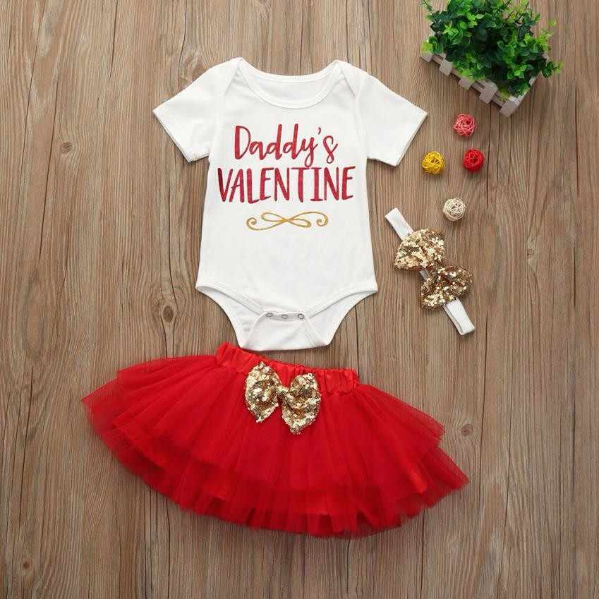11cd6a1fd7d08 Newborn Baby Girl Clothes Short Sleeve Daddy's Valentine Letter Romper  Tops+ Tutu Skirt+Headband 3PCS Outfit Kids Clothing Set