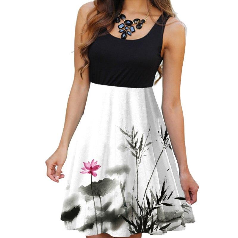 Image 4 - New 2019 Summer Dresses Women Print Beach Dress Casual Sleeveless O Neck Patchwork A Line Dress Boho Tank Sexy Dresses Vestidos-in Dresses from Women's Clothing