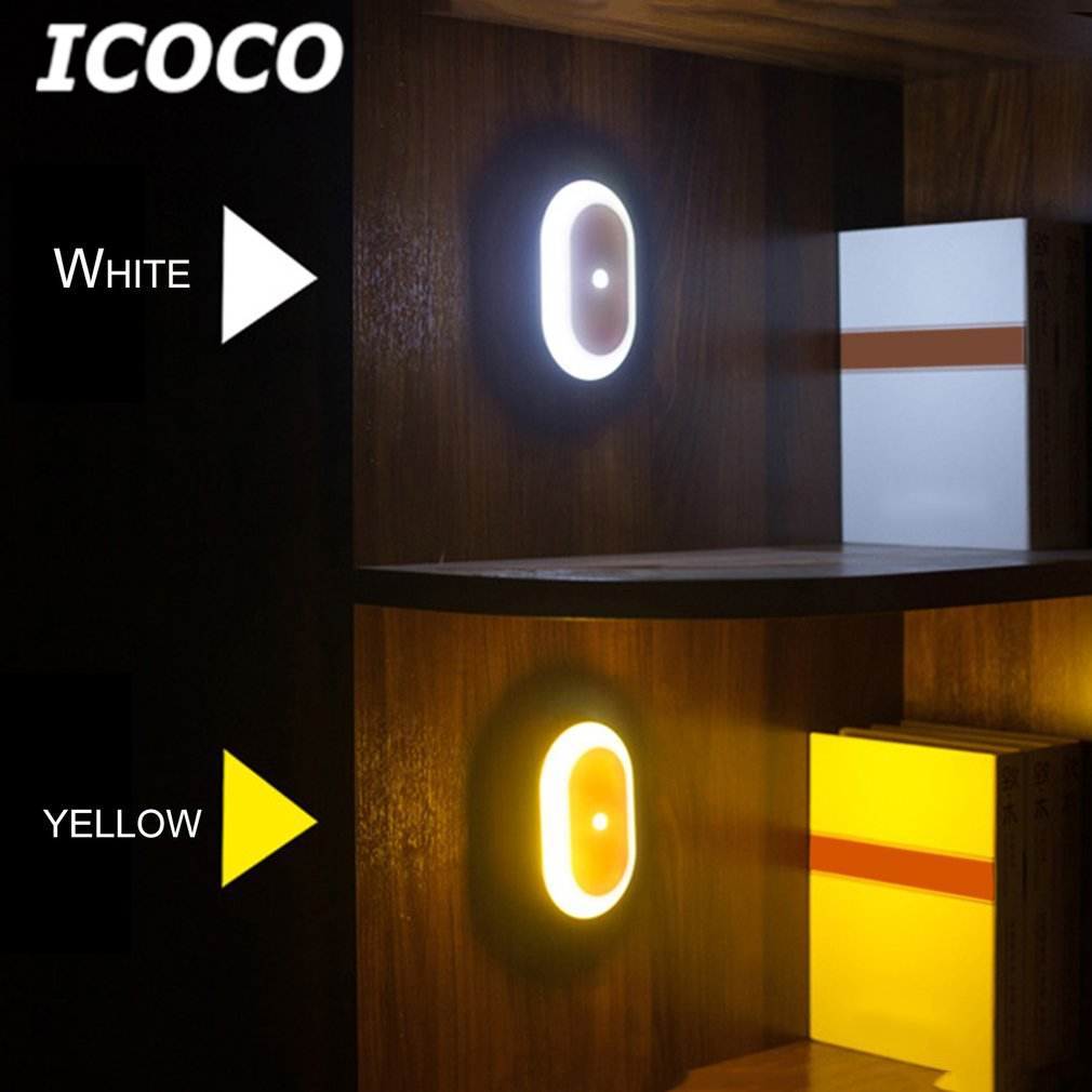 icoco 360 degree infrared sensor led night light side glowing light easy install wall mounted. Black Bedroom Furniture Sets. Home Design Ideas