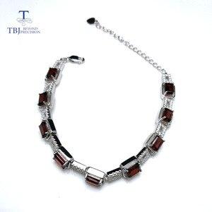 Image 2 - TBJ,925 en argent sterling éblouissant 5ct Mozambique rouge grenat haute qualité Bracelet bijoux fins pour les femmes avec boîte à bijoux