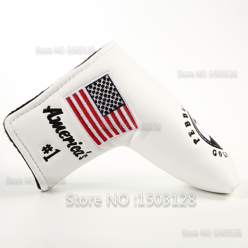 Image 3 - New USA American No.1 Flag Long LifeTree White Golf Putter Cover Headcover  Closure for Blade Golf Putter Free Shipping-in Club Heads from Sports & Entertainment